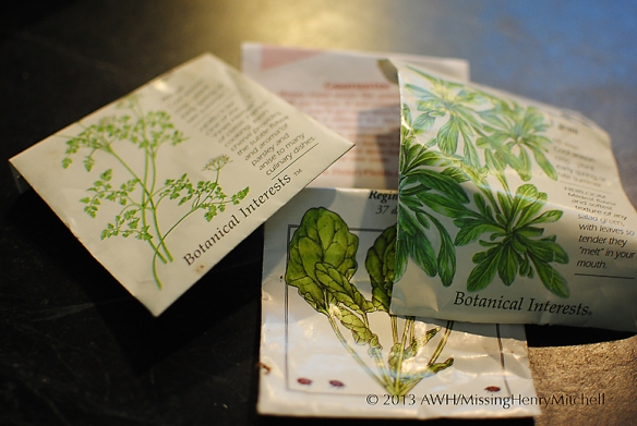 seed packets of winter veg