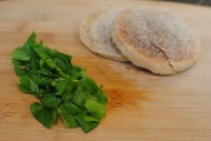 chopped sorrel and english muffin