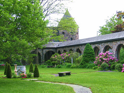 Cloister garth of St. Joseph's Abbey, Spencer, MA.