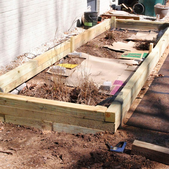 raised bed timbers laid out
